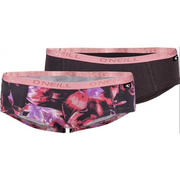O'Neill WOMEN HIPSTER TROPICAL 2PK hnědá L - Dámské spodní kalhotky