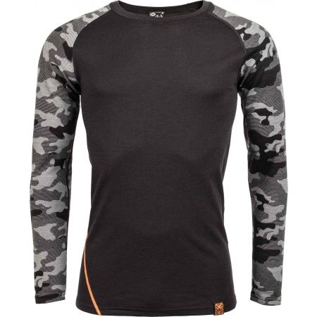 Pánské triko s dlouhým rukávem - Bula CAMO MERINO WOOL CREW - 1