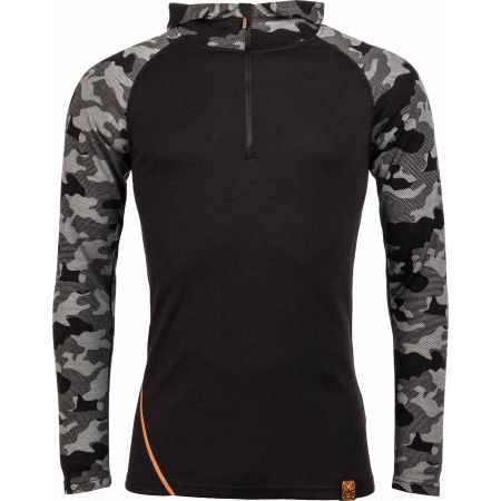 Men's sweatshirt - Bula CAMO MERINO WOOL HZ HOOD - 1