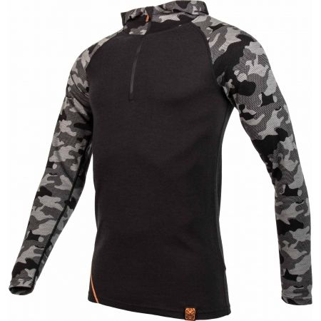 Men's sweatshirt - Bula CAMO MERINO WOOL HZ HOOD - 2