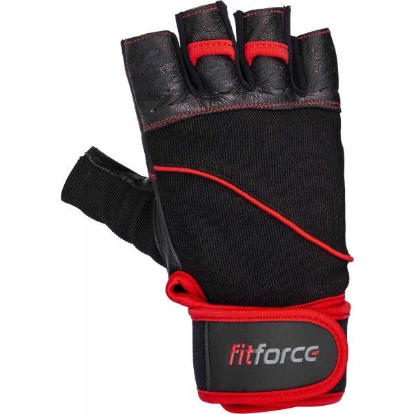 Fitforce FERAL černá L - Kožené fitness rukavice