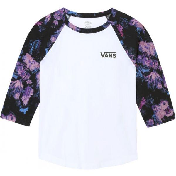 Vans WM DRIP FLORAL RAGLAN bílá XS - Dámské tričko s 3/4 rukávem