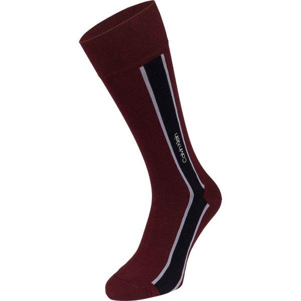 Calvin Klein VERTICAL STRIPE CREW vínová UNI - Pánské ponožky