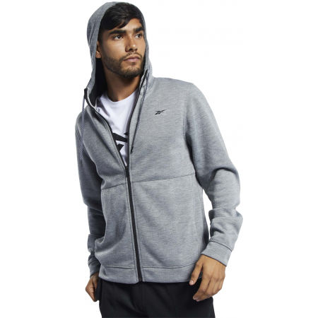 Bluza męska - Reebok WORKOUT READY DOUBLE KNIT FZ HOODIE - 3