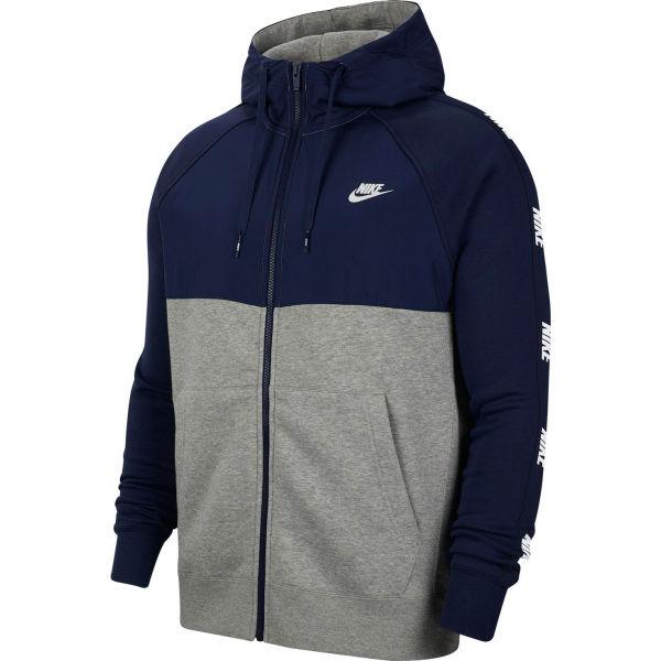 Nike NSW CE HOODIE FZ BB HYBRID M tmavě modrá L - Pánská mikina