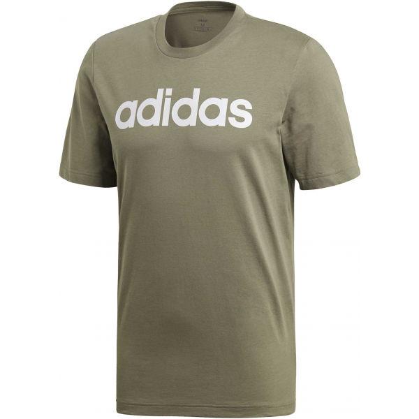 adidas E LIN TEE tmavě zelená 2XL - Pánské tričko