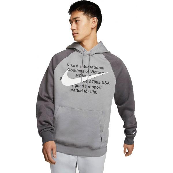 Nike NSW SWOOSH HOODIE PO BB M šedá M - Pánská mikina