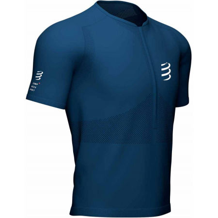 Koszulka do biegania męska - Compressport TRAIL HALF-ZIP FITTED SS TOP - 1
