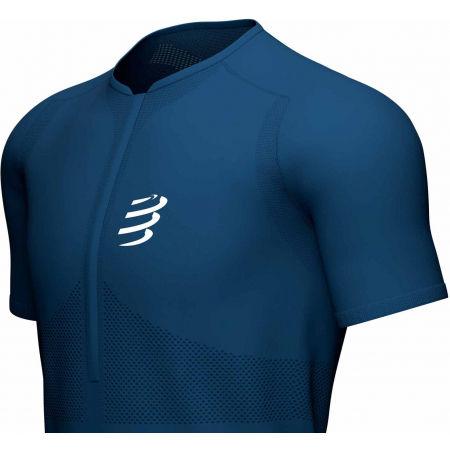 Men's running jersey - Compressport TRAIL HALF-ZIP FITTED SS TOP - 3